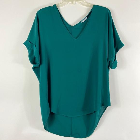 CAbi Tops - Lush Teal Green Short Sleeve Long Tail Shirt vneck